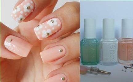 Manicure krok po kroku: Kwiatki i ćwieki