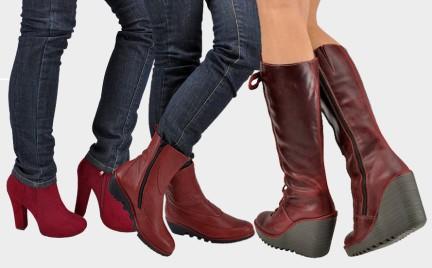 Buty w kolorze czerwonego wina