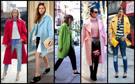 Trudny trend: kolorowy płaszcz