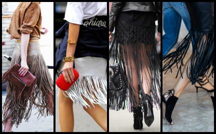 Trendy z wybiegów: spódnica z frędzlami