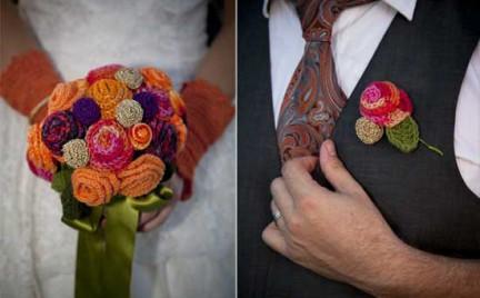 Ślubne inspiracje: szydełkowane bukiety