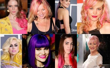 Kolorowe włosy celebrytek