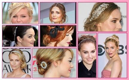 Fryzury gwiazd ozdoby do włosów. Idealne na ślub