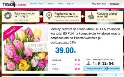 40 zł za kupon zniżkowy wart 80 zł na kwiaty w ruszaj.pl