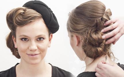 Jesienne fryzury: upięcie retro pod toczek