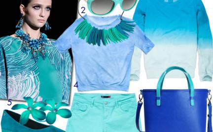 Moda z wybiegów: turkus i błękit