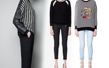 Czerń bielą przeplatana swetry Zara