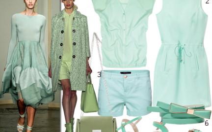 Moda z wybiegów: pistacjowy