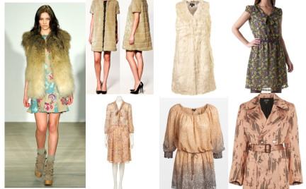 Trend: futrzana kamizelka z romantyczną sukienką