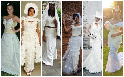 Top 10. Najpiękniejsze suknie ślubne z papieru toaletowego